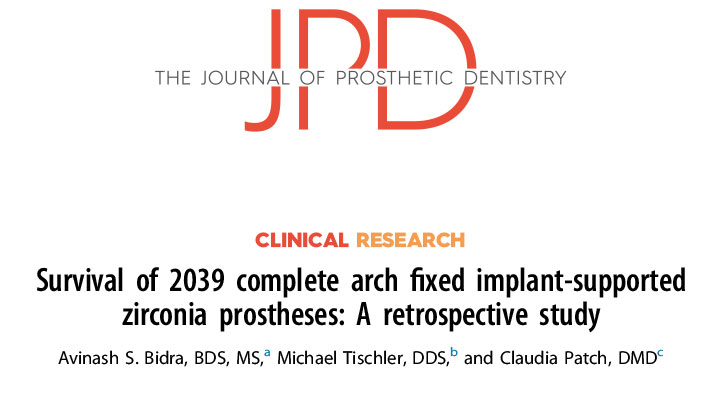 JPD Clinical Research: Survival of 2039 complete arch fixed implant-supported prostheses: a retrospective study